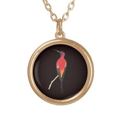 Fiery Topaz Hummingbird Gold Plated Necklace  $24.25  by ChristianeDobbins  - custom gift idea
