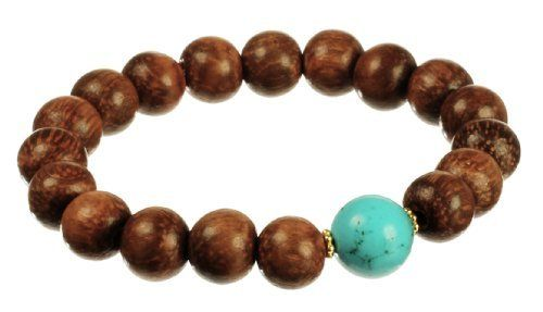 """Vermeil Wood Beads and Turquoise Accent Rondell Stretch Bracelet, 7.5"""" Amazon Curated Collection. $17.99. Made in China. Vermeil rondell around turquoise accent. Gemstones may have been treated to improve their appearance or durability and may require special care."""