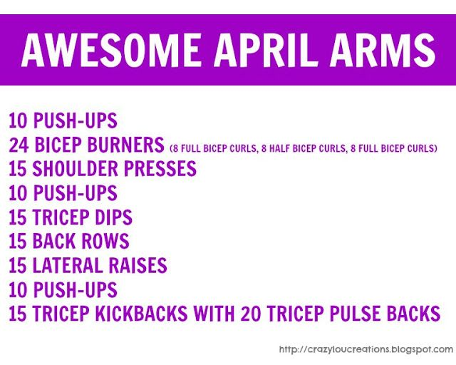 Printable Arm Workout Women | found examples of the exercises on Women's Health Magazine's website ...