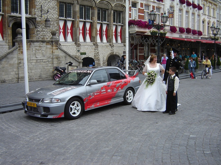 Our marriage with our Mitsubishi Lancer Evo III in 2006