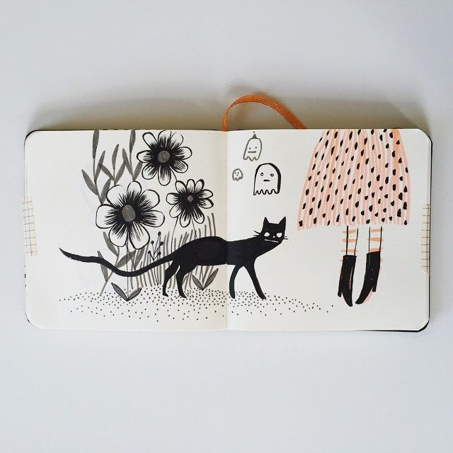 Sketchbook page of good luck #cat #botanical #sketchbook #ghost