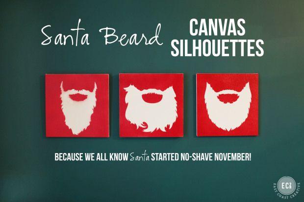 No-Shave-November:Santa Beard Silhouette Canvas Art