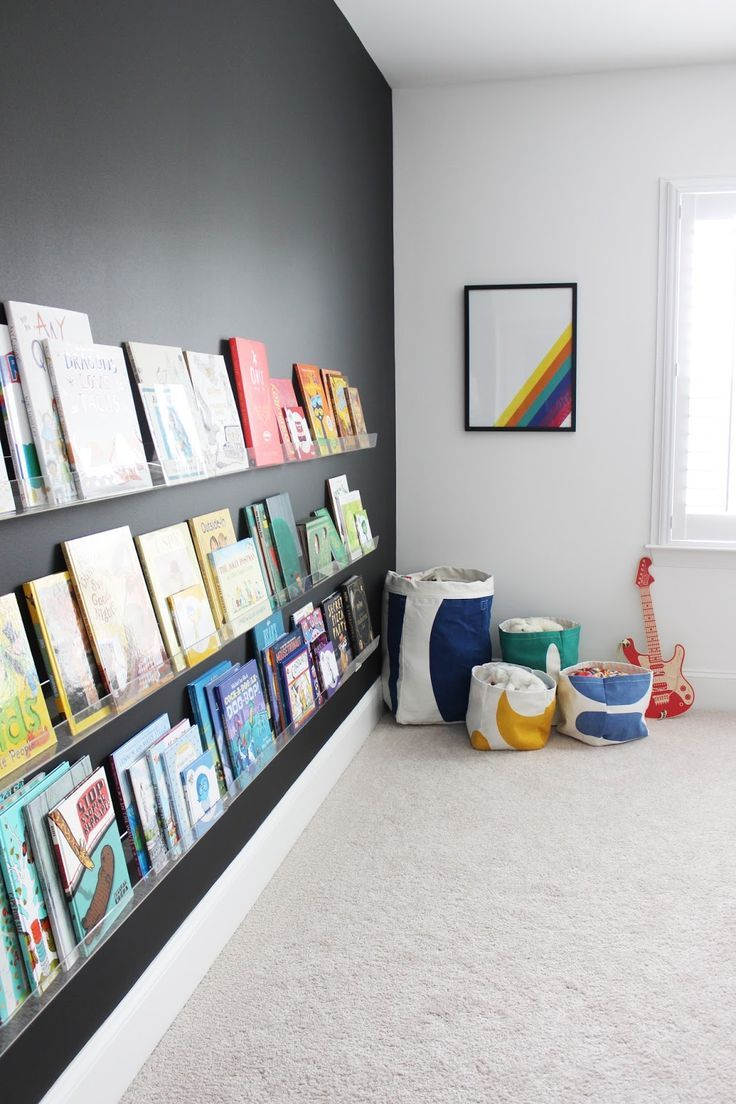 love and lion: ROOM TOUR: ARI'S MODERN BIG BOY ROOM - rainbow theme - bookshelf installation