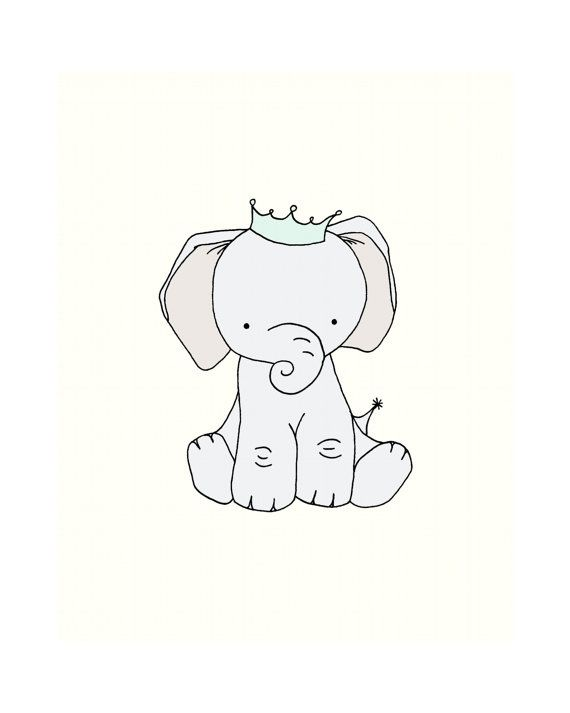 Elephant Nursery Art Little Prince Crown Print Decor Children Kids Wall