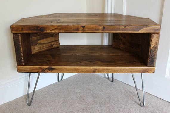 Reclaimed Rustic Wooden Corner Tv Stand Cabinet Unit Solid Steel Hairpin Legs Industrial Contemporary In Dark Wax Etagere Angle
