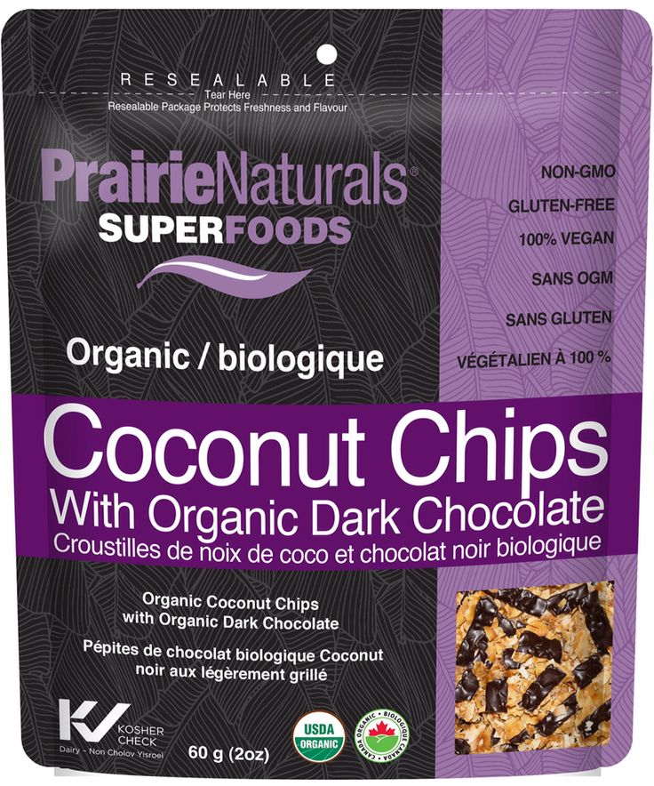 New product from Prairie Naturals. Organic Coconut Chips with Organic Dark Chocolate! Non-GMO. Vegan. Gluten Free.