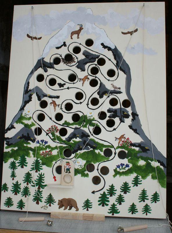 """jeu d'adresse """"montagne"""", peint à la main"""