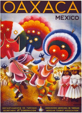Oaxaca Mexico. Mexicans in traditional ceremonial dress perform a dance as two girls watch. Illustrated by Miguel Covarrubias for the Mexican department of tourism, 1947. Vintage Mexican travel poster.