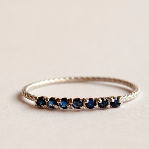 Half eternity ring Sapphire ring - blue stone ring yellow gold 9k $125.00 (can also get in white gold, and sterling silver)