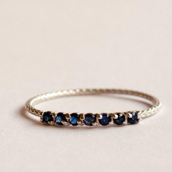 Media eternidad anillo zafiro anillo  azul piedra por ARDONN