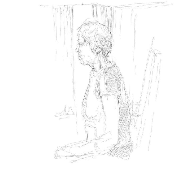 Набросок образа сидящей у окна автобуса женщины. Сильно трясёт и жарко поэтому не до деталей.