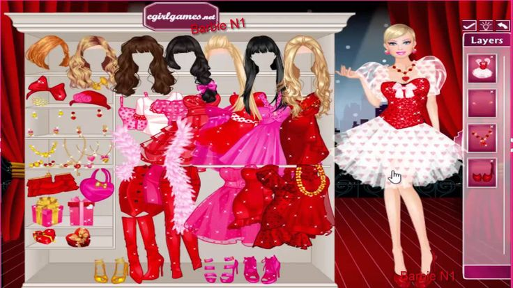 Barbie dress up game. Play game at http://www.yoobfriv.info/romantic_barbie.html.  It looks like Barbie is getting ready for a romantic evening and she s having a bit of trouble choosing which dress to wear and how to wrap her gift!