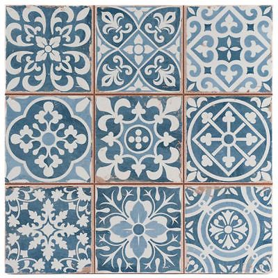 SAMPLE  Victorian Tangier Blue Decor Wall & Floor Tile