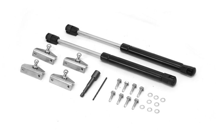 The perfect solution for those hard to handle Jeep hoods! This hood lift kit features two gas shocks and all the necessary mounting hardware to turn your manual opening hood to a soft opening hood des