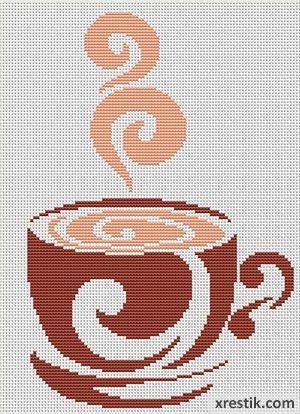 Kofe----4300 Схема для вышивки scheme for cross stitch