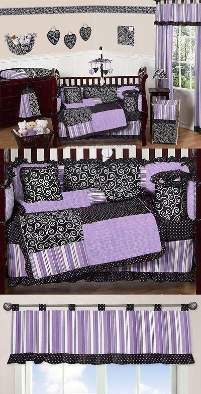 baby kid stuff: Purple Black And White Baby Crib Bedding Set For Newborn Girl Sweet Jojo Designs -> BUY IT NOW ONLY: $169.99 on eBay!