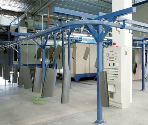 """You may wonder what this photo means to be. """"Powder Coating Line"""" This is a production system that Practika sprayes the furniture with a capacity of desaturation the color pigment while it is floating in the air after spraying in order to reuse the color pigment. We care in every detail. It is not only the design for furniture, but we also consider about the resource and environmental saving! #PractikaFuelingDesignsAlive"""