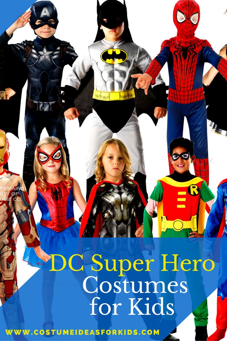 DC Comic Superhero and Villains costumes, including Superman, Batman, Robin, Wonderwoman, Green Lantern, and more.  Find more fun and unique Halloween costume ideas for kids here.