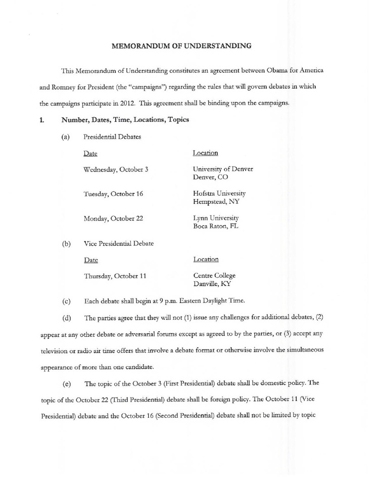 The 2012 Debates - Memorandum of Understanding Between the Obama - memorandum of understanding template