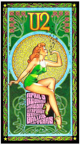 Bob Masse design, Classic rock concert psychedelic poster - U2.