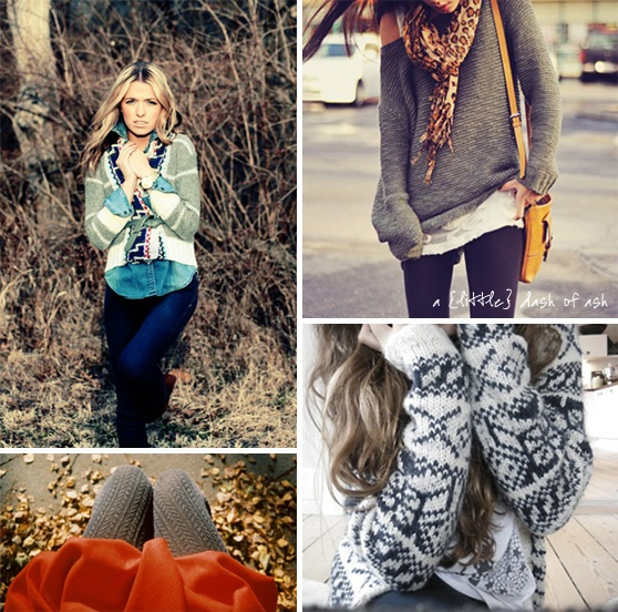 fall wardrobe: oversized, chunky sweaters, sweater leggings and big scarves