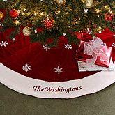 Red Velvet Personalized Snowflake Christmas Stockings Tree SkirtsXmas