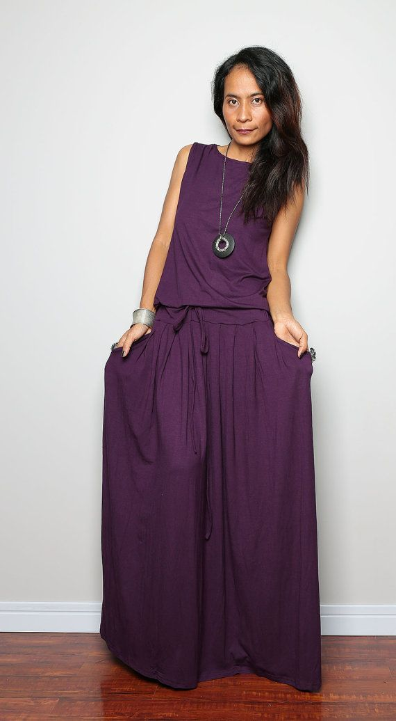 Hey, I found this really awesome Etsy listing at https://www.etsy.com/listing/186489671/deep-purple-maxi-dress-sleeveless-dress