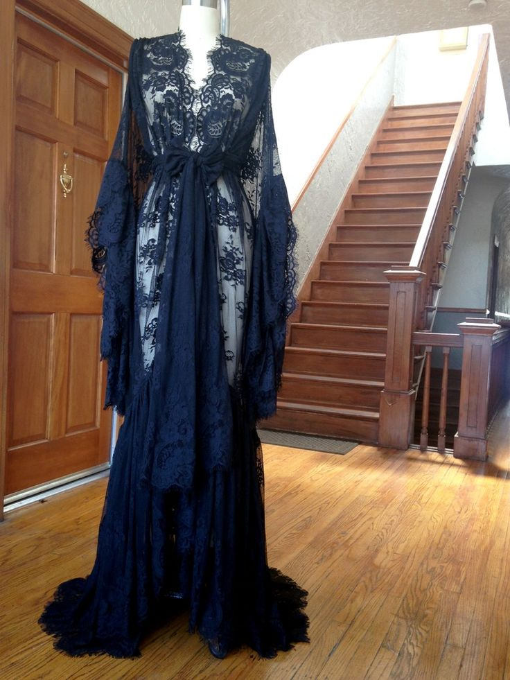 "Image of ""Valentina"" Black Lace Dressing Gown"