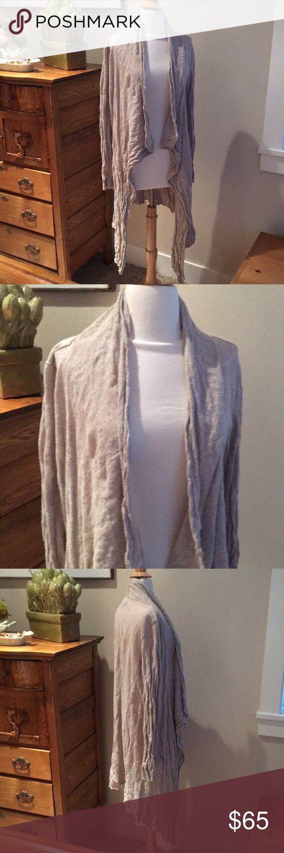 AllSaints Spitafields waterfall cardigan sweater Made with taupe cotton and metallic fibers this crinkled asymmetrical cardigan is size 10 UK which translates into a US size 6 or small. So cute with leggings and a tank top. All Saints Sweaters Cardigans