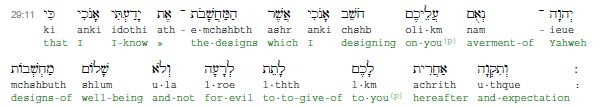 "Jeremiah 29:11  (from the Online Hebrew Interlinear Bible)  The original Hebrew here for that phrase ""expected end"" is achrith uthque. The original wording appears to have two words associated with the one concept.  In the Geneva Bible (1611), the translators had some trouble interpreting this. They decided on ""expected end"", however they realized that the Hebrew would be better translated as ""ende and expedition"" (in King James English).  Unfortunately, we don't know why they chose…"