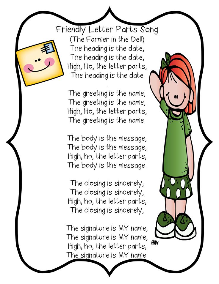 Friendly Letter Parts Song First Grade Wow Literacy Writer S