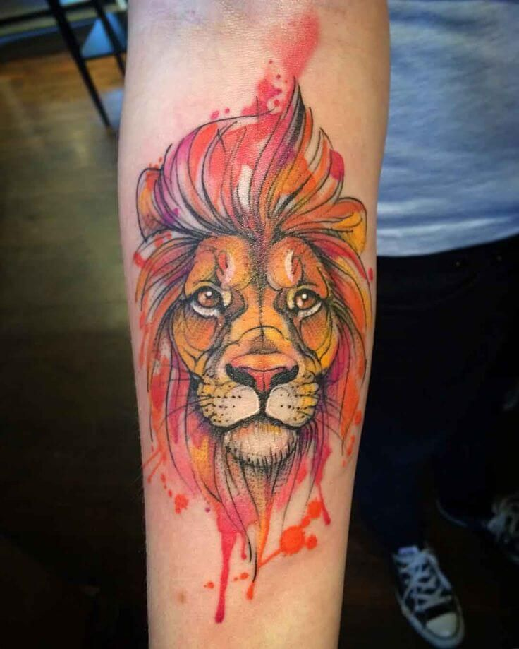 The 112 Best Watercolor Tattoos For Men Watercolor Lion Tattoo