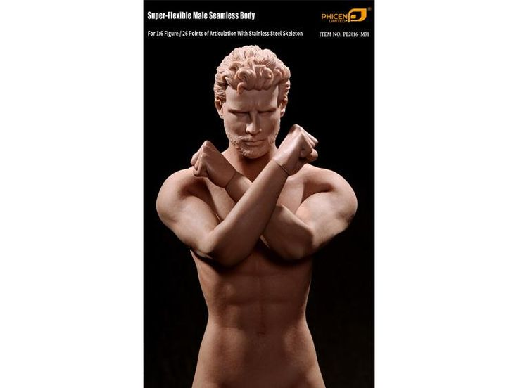 1/6 Scale Super-Flexible Male Seamless Body With Stainless Steel Skeleton 2.0 - Phicen 1/6 Scale Figures 1/6 Scale Bodies