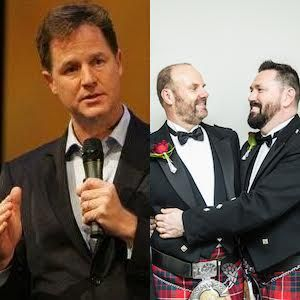 Nick Clegg congratulates couple married in first consular same-sex wedding