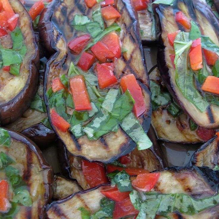 Grilled and marinated eggplant with bell pepper and basil.