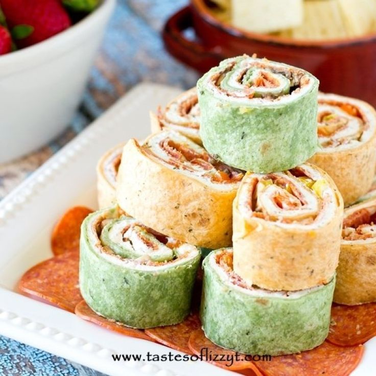 Your favorite pizza toppings alongside garlic cream cheese all rolled up in a tortilla. Italian Pepperoni Rollups are the ideal lunch, appetizer or snack.