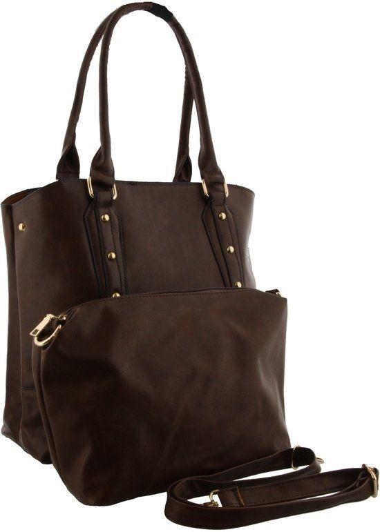 Bruine tas met twee vaste hengsels die vast zitten aan gouden ringen.