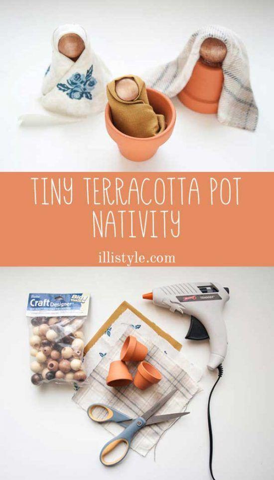 Tiny Terracotta Pot Nativity