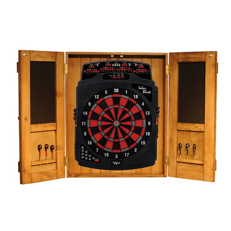 South Coast Dartboard Cabinet Package: $369.95.      The South Coast Rustic Dart Board Cabinet is offered in two different finishes, natural and dark, which both are distressed for the desired rustic flair. The cabinet is made of solid wood with barn-style doors that snap shut to complete the rustic look. The inside is just as impressive as the outer frame. With four dart holes on each door and two chalkboards. www.billiardfactory.com