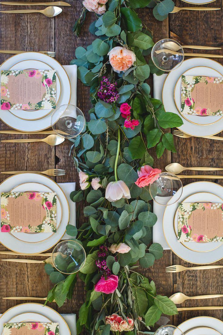 Garden Brunch with fresh floral garland tablescape