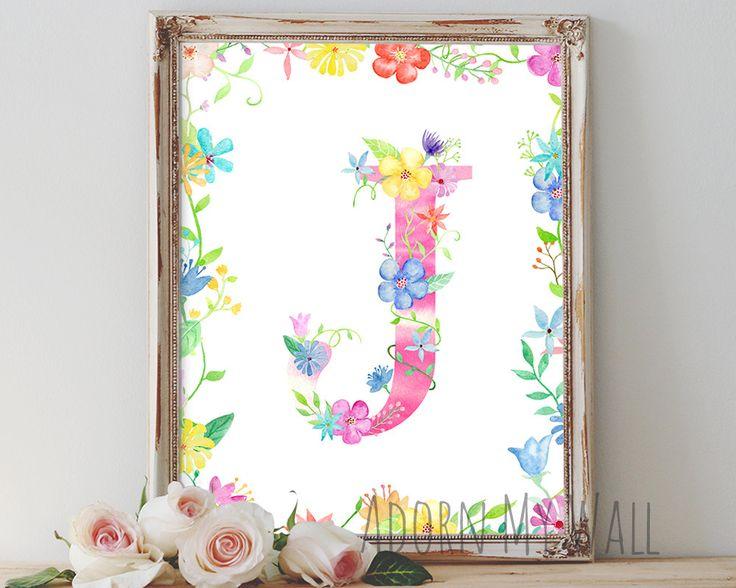 Letter J, wall art, instant download, monogram, home decor, wall decor, nursery decor, letter,printable art,nursery,nursery monogram,initial by AdornMyWall on Etsy
