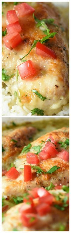 Salsa Verde Chicken Bake ~ Delicious and simple... Only requires a few pantry ingredients, 5 minutes of prep, and one pan!