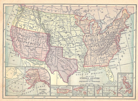 Ships Free 1909 Pre World War I Map Of Us Territories Free Shipping To Us