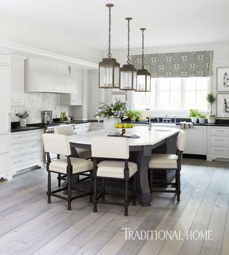 Pretty kitchen in quiet colors traditional home http for Traditional kitchen color schemes