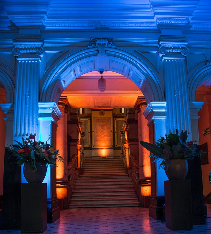 The dramatic entrance-way to Cape Town's City Hall made even more dramatic with the use of blue light. #Afrochic