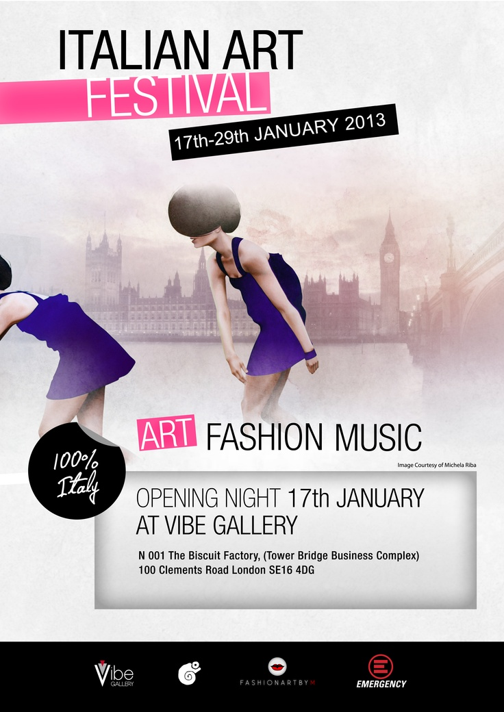We done it!  The artists have been selected for this incredible Italian adventure!  A mix of ART – MUSIC – FASHION selected for this incredible exhibition  from 17th to the 29th of January 2013.  YOU are invited to the Opening Night  17th January 2013 from 6:30pm to 8:30pm  Vibe Gallery  N001 The Biscuit Factory,  (Tower Bridge Business Complex)  100 Clements Road  SE16 4DG  London  2 weeks of Music, Art and Fashion shows to show what the Italian can do!
