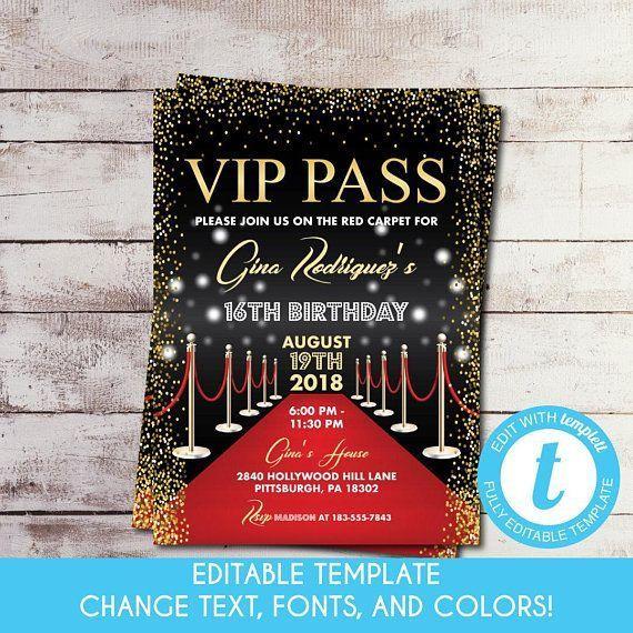 Editable Printable Vip Pass Birthday Invitation Hollywood Etsy Red Carpet Sweet 16 Invitations Hollywood Invitations Red Carpet Sweet 16
