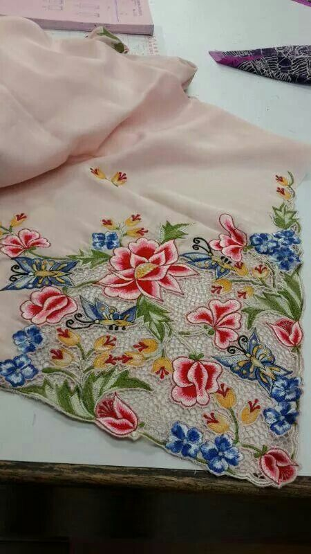 """A lovely Peranakan ladies kebaya. .I love the contrasting colours chosen for the """"Sulam""""/ embroidery."""