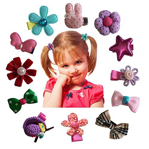 Hair Clips Barrettes Assorted Cute Flowery Ribbon Bows Style B-Series - 12 pcs of Uniquely Designed For Baby Toddler and Young Girls