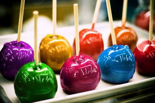 Rainbow candy apples